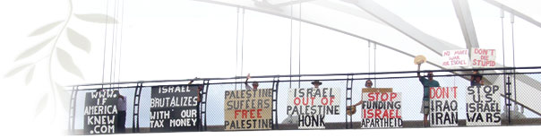 Justice For Palestinians out on the bridge with our sigs